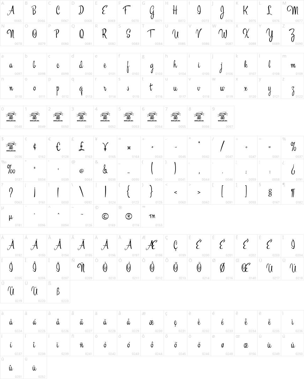 Esplanade Script Character Map