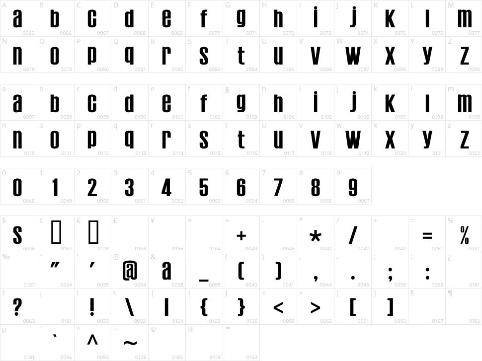 Establo Character Map