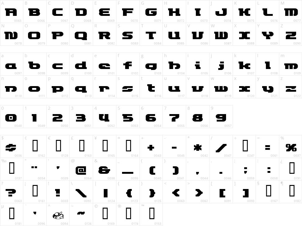 ET Rocketype Character Map