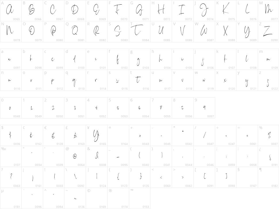 Everleigh Signature Script Character Map