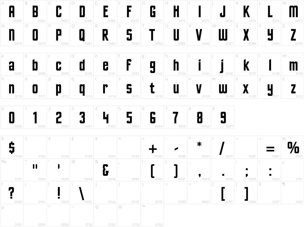 Excelsior Sans Character Map