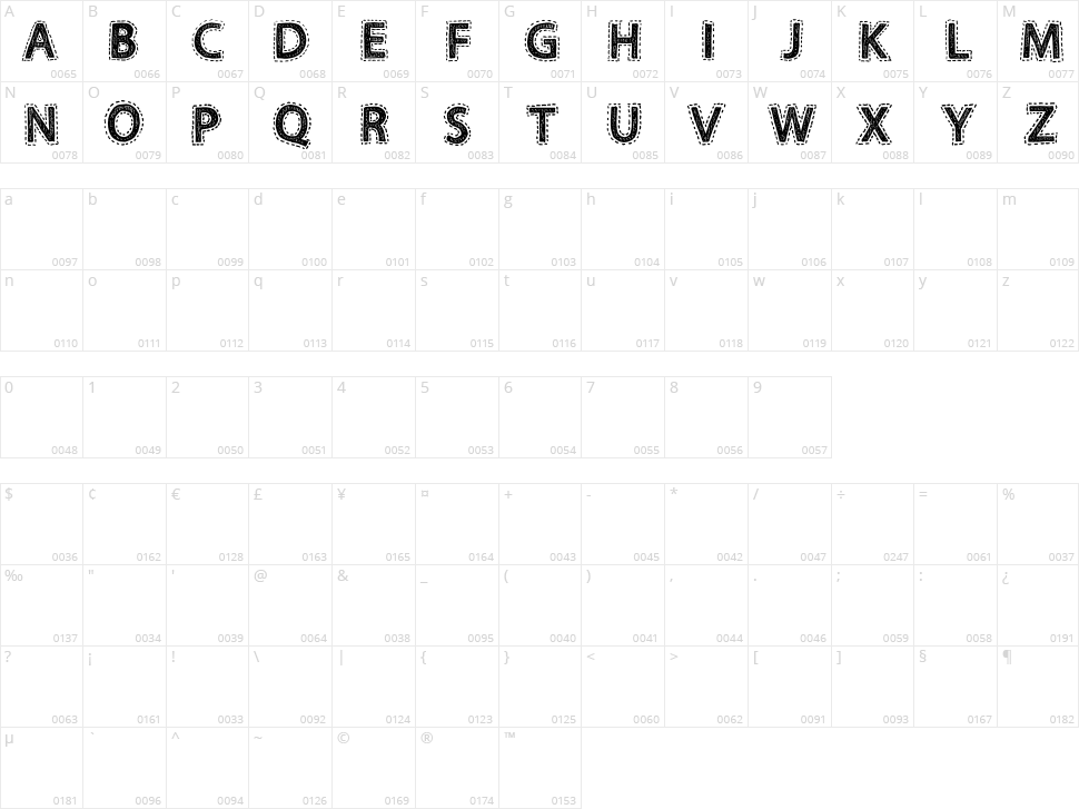 Fabrics Character Map