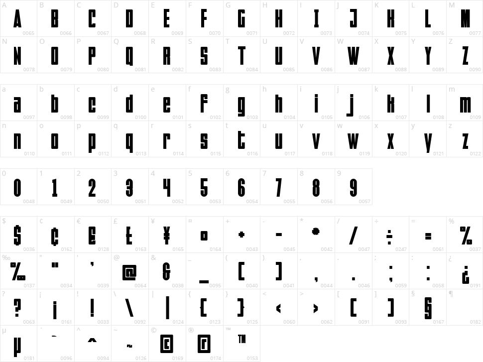 Faltura Character Map