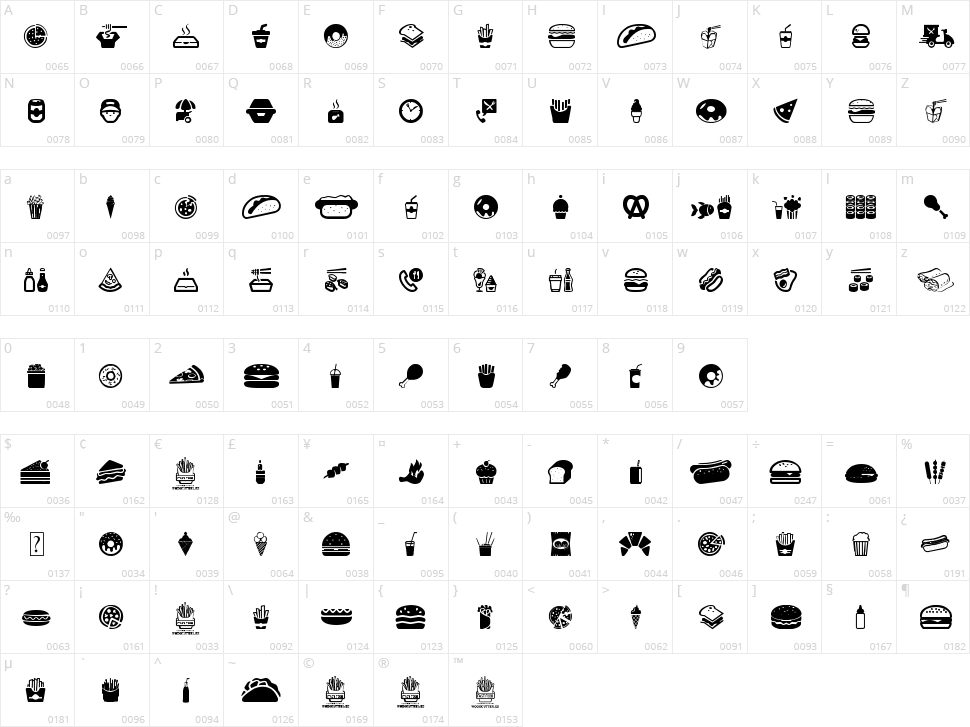Fast Food Icons Character Map