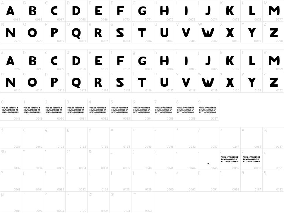 Fat Font Character Map