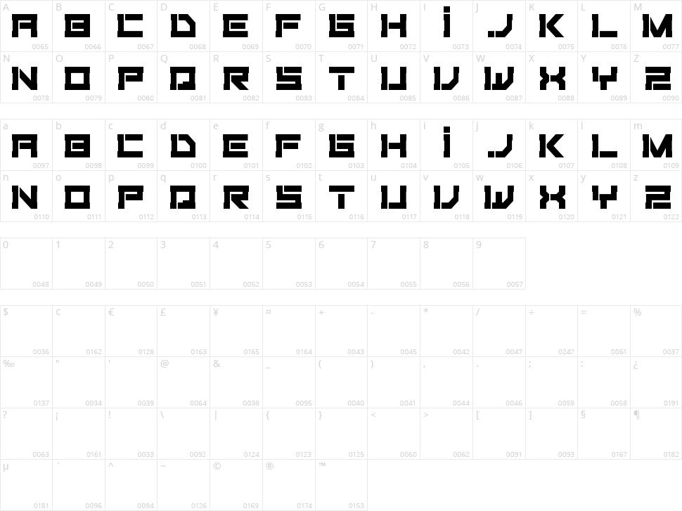 Fiker Futura Character Map