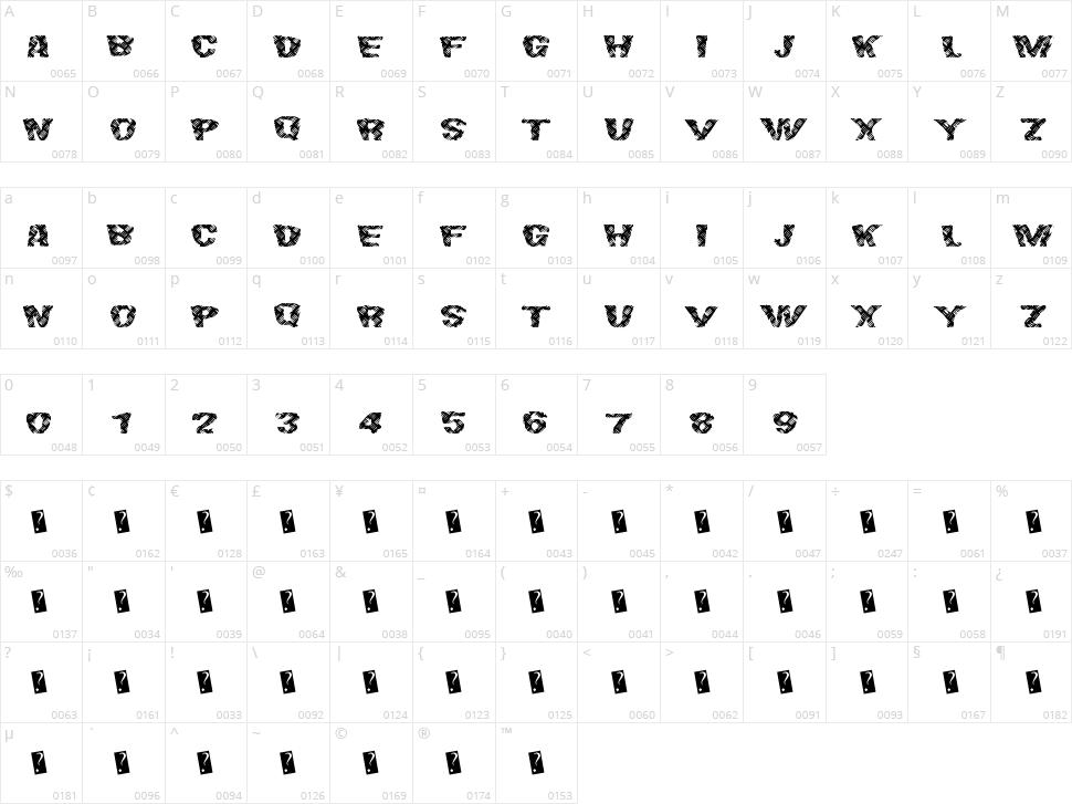 Final Slash Character Map