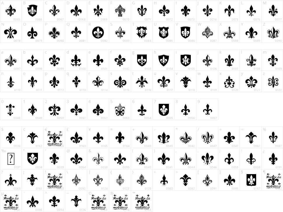 Fleur de Lis Character Map