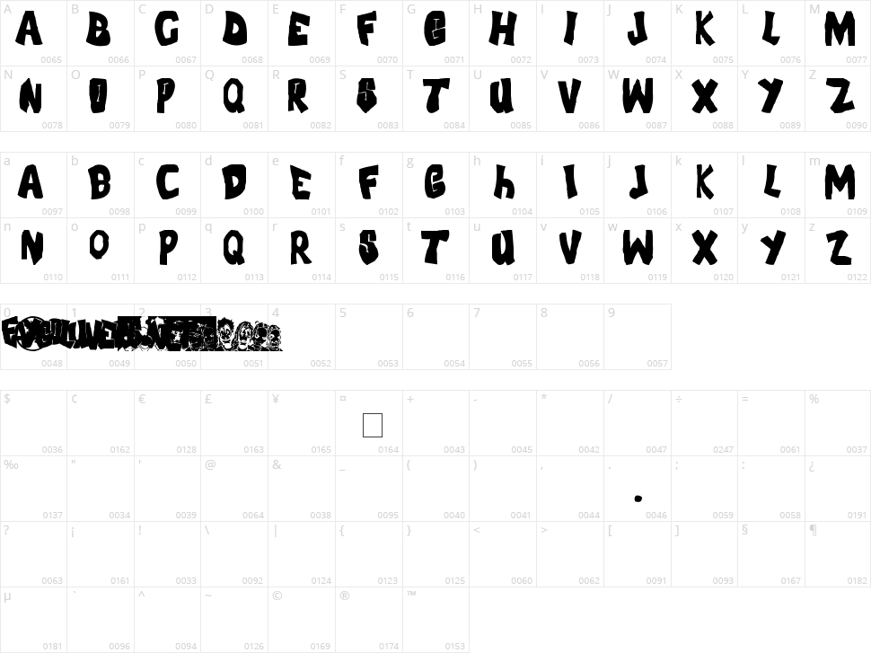 FLH-Font Character Map