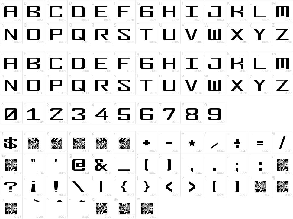 Fonderian Character Map