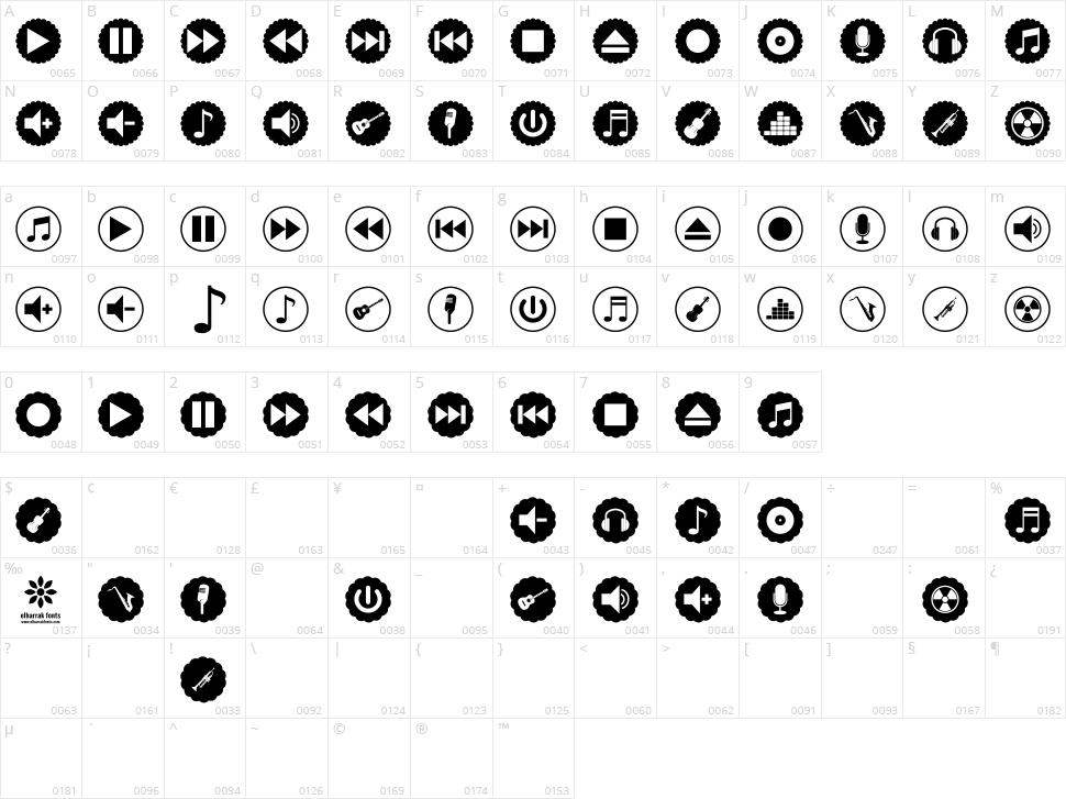 Font Bottons Music Pro Character Map