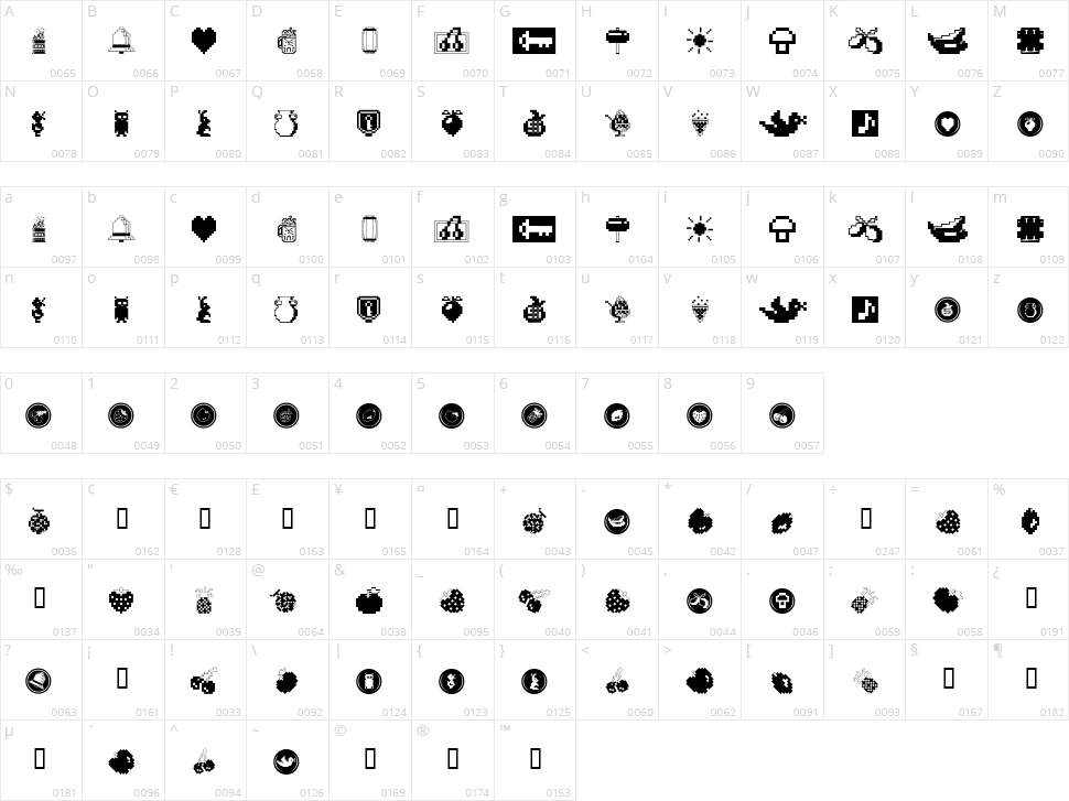Fontalicious Thingbats Character Map