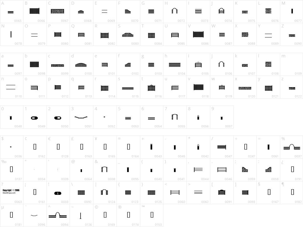 FontCo Fences Character Map