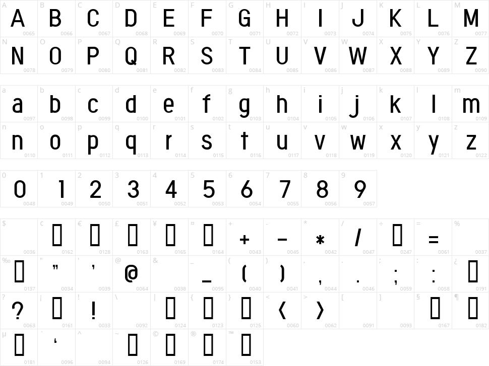Fontopo Neutral Character Map