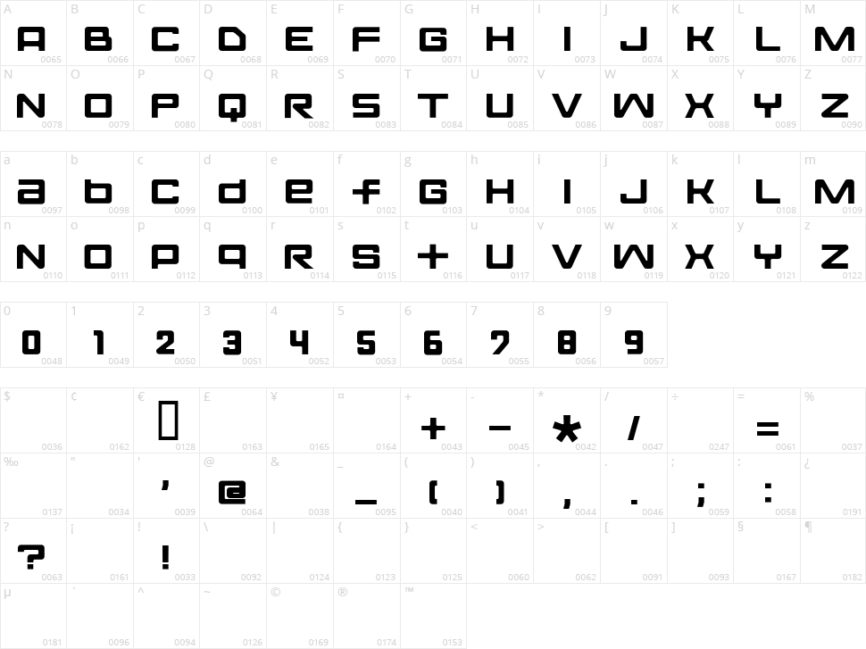 Fontopo Solid Character Map