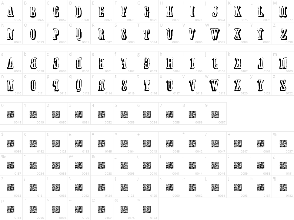 Forwards Backwards Character Map