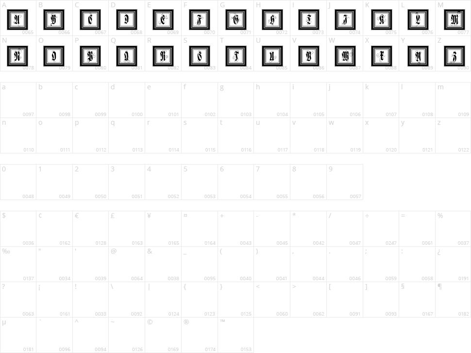 FramedFraxCaps Character Map