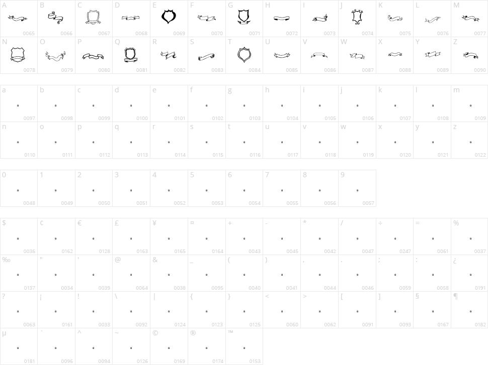 Frames 'n Riboons Character Map