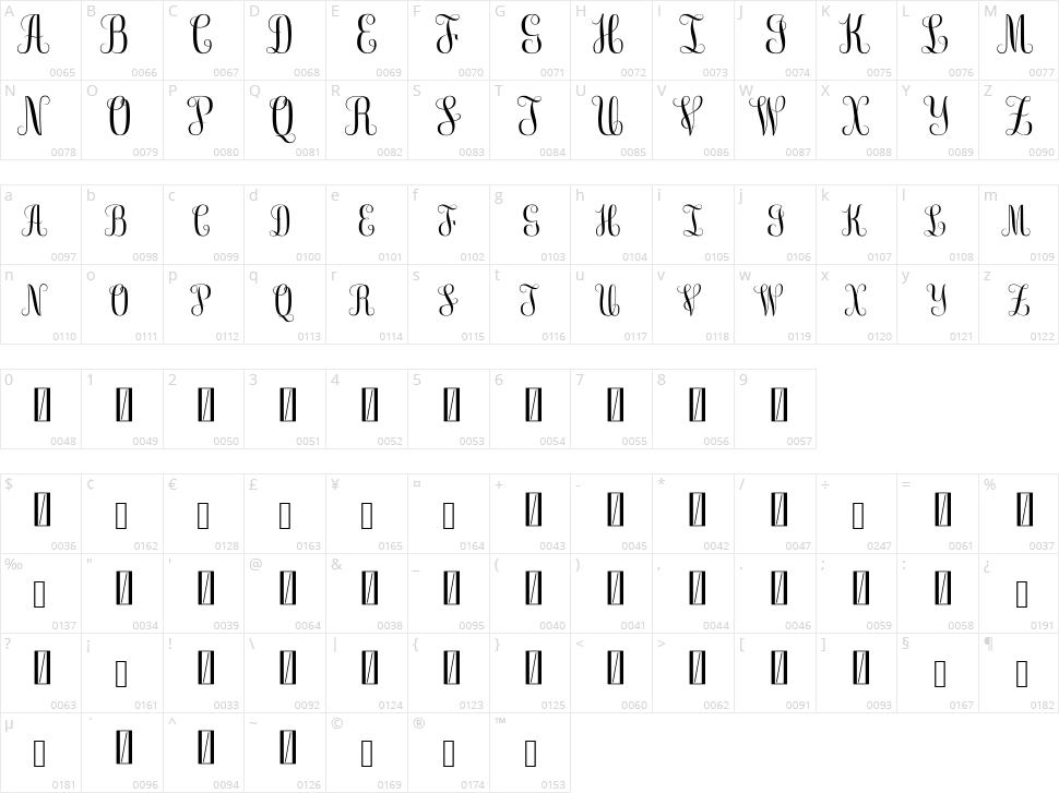 Free Monogram Character Map