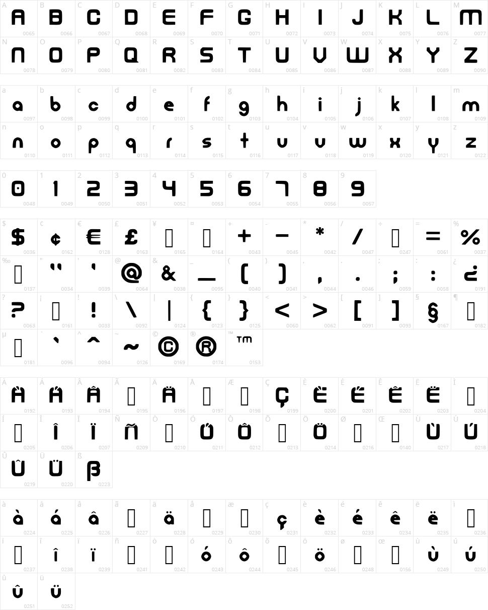 FreedanFont Character Map