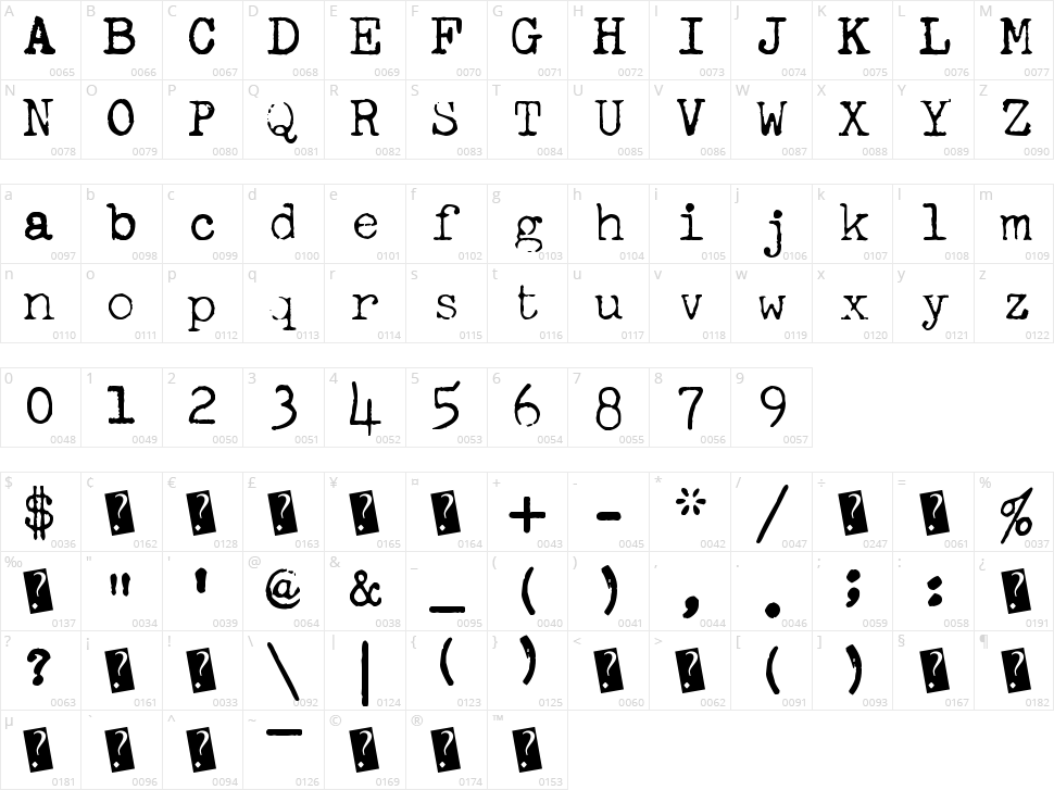 Freeky Typewriter Character Map