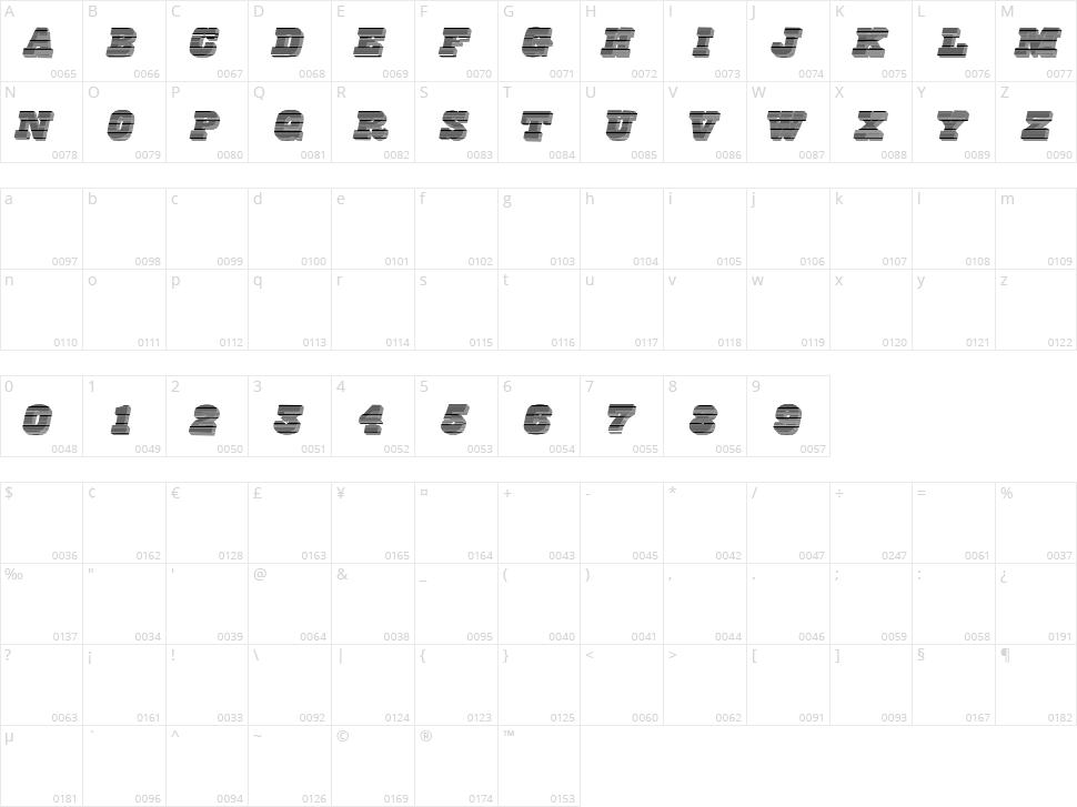 FreeLine Character Map