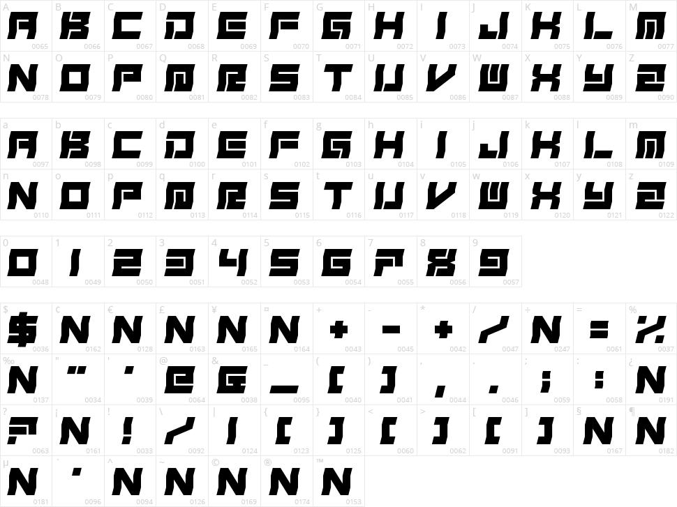Freudian Slit Character Map