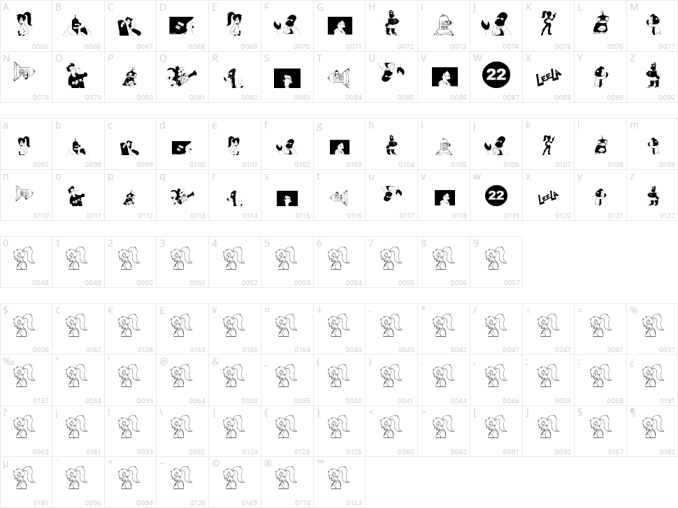 Futurama Alien Alphabet Two Character Map
