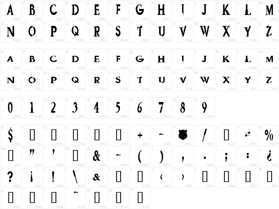 GaramGarde Character Map