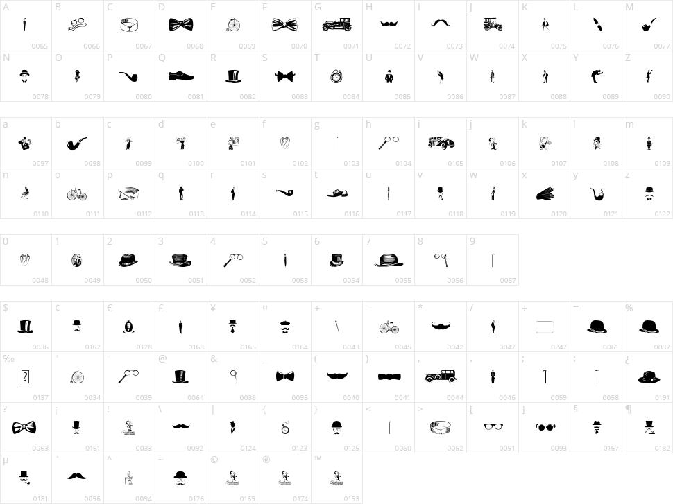Gentleman Icons Character Map