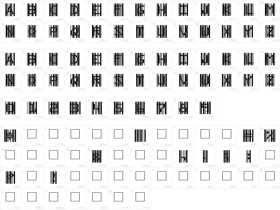 Ghost Code Character Map