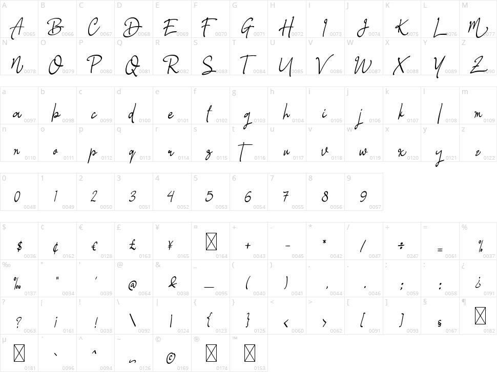 Glastia Monoline Character Map