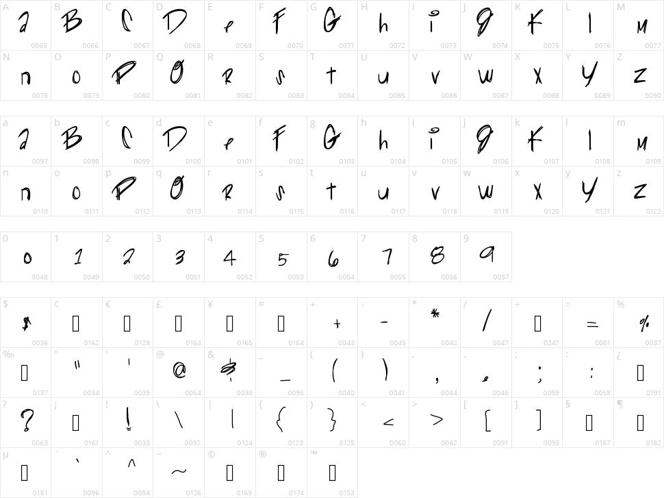 Gliiter Kitty Character Map