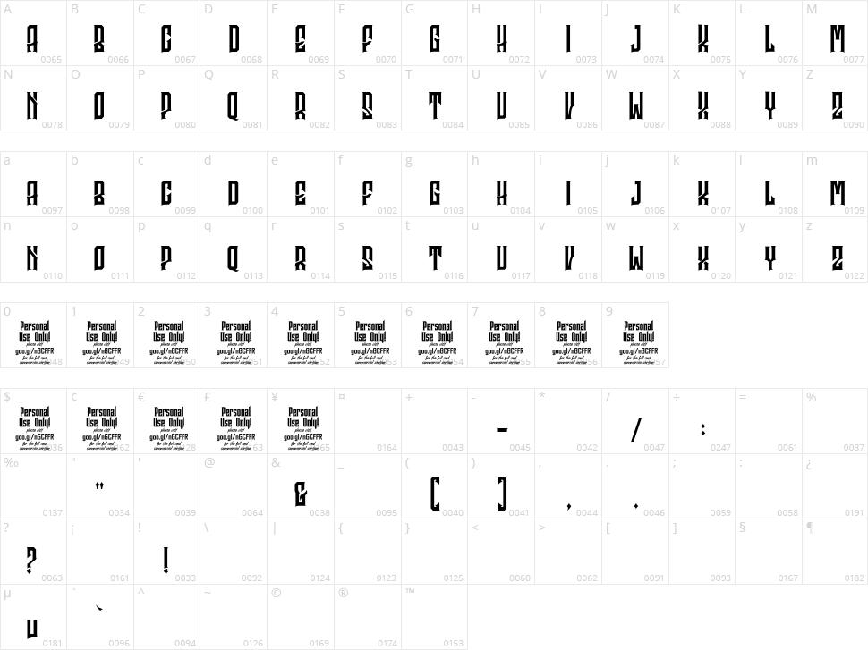 Godhong Character Map