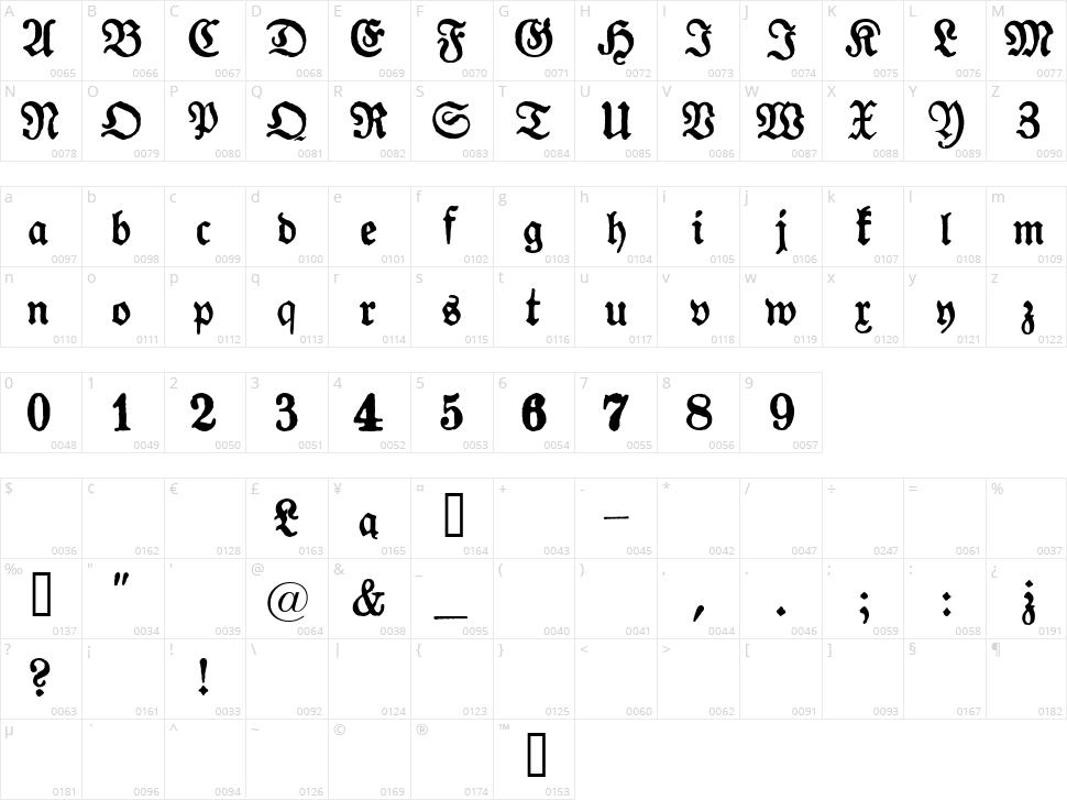 Gotyk Poszarpany Character Map