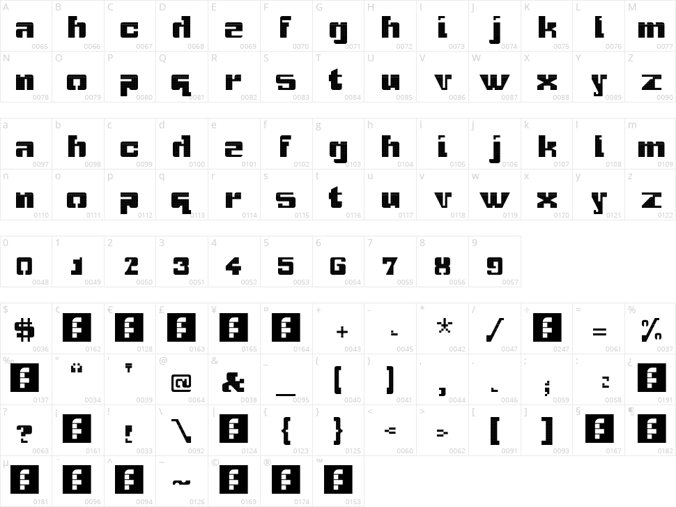 Gridbreak Sans Character Map