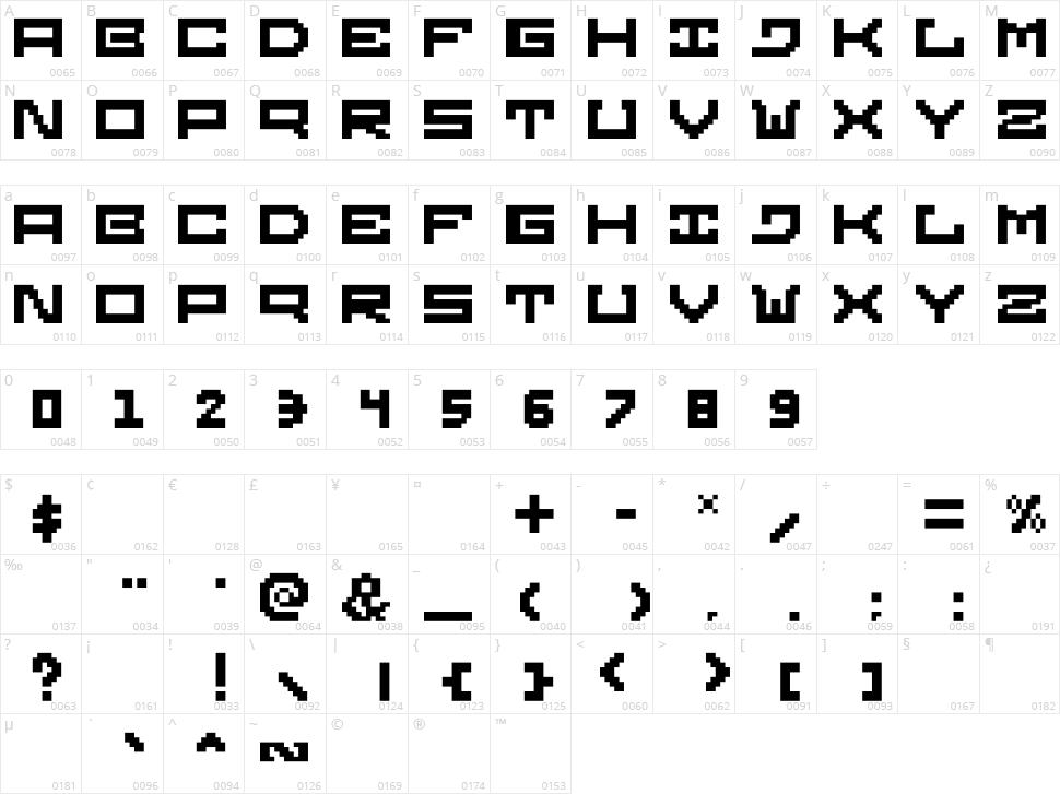 Gridilatia Character Map