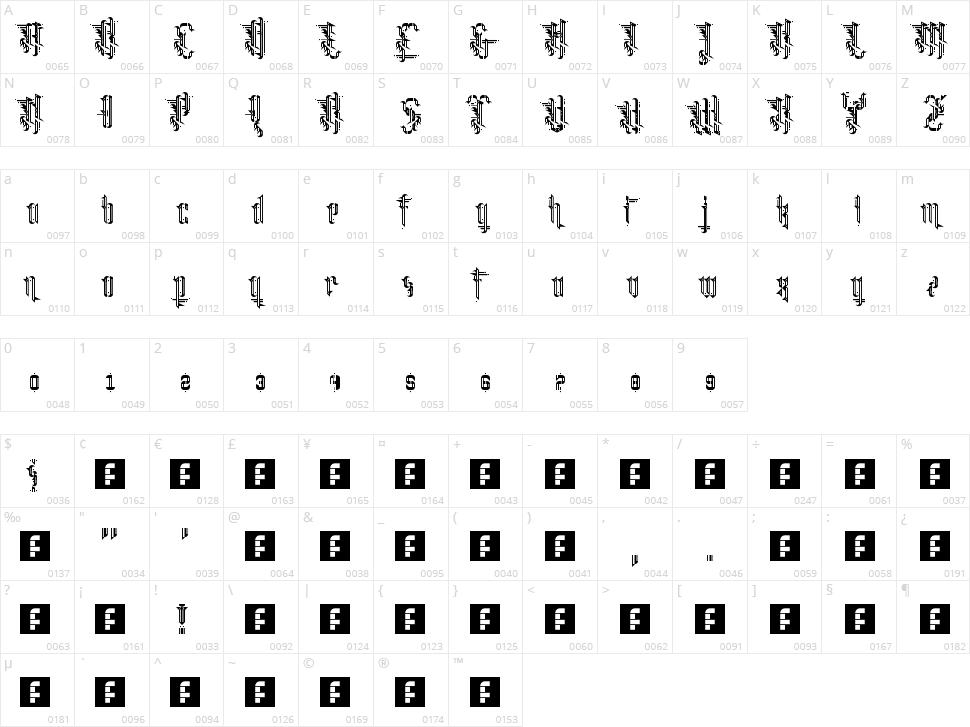 Grimeplex Character Map