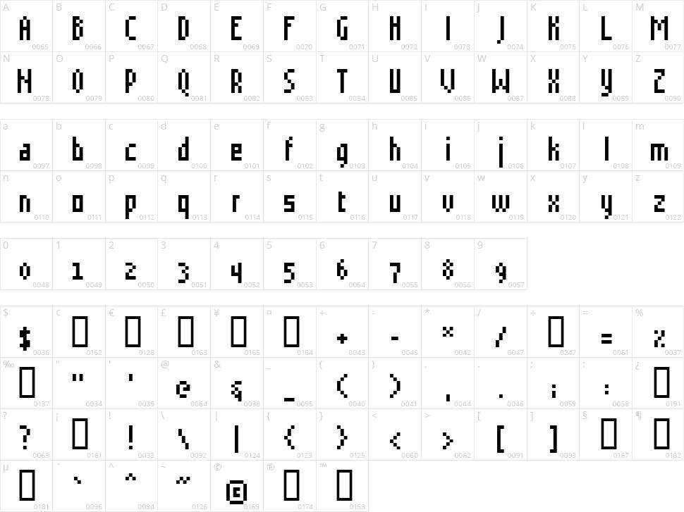 Grudblitter Character Map