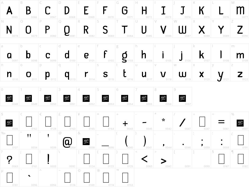 Guayaba Sans Character Map
