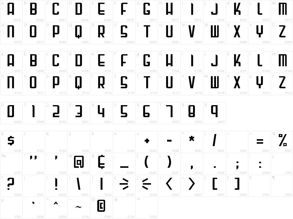 Gunblade Character Map