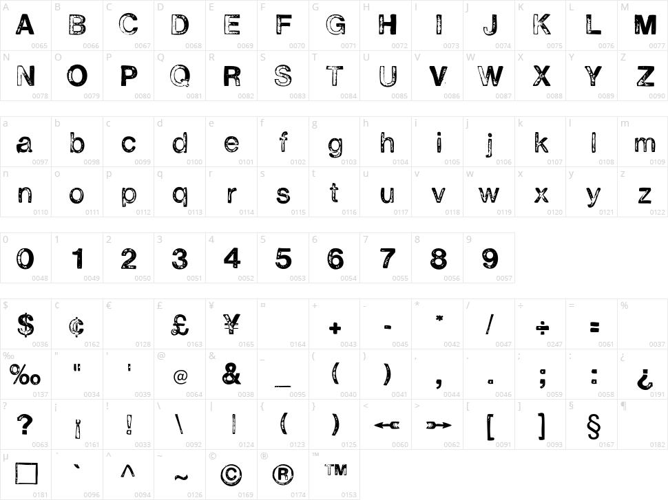 H2D2 Alevita Character Map