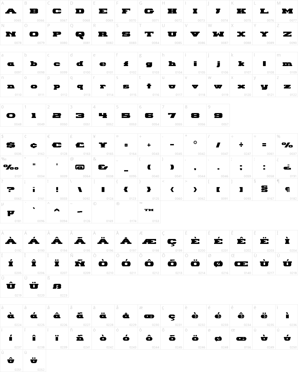 Hackney Block Character Map