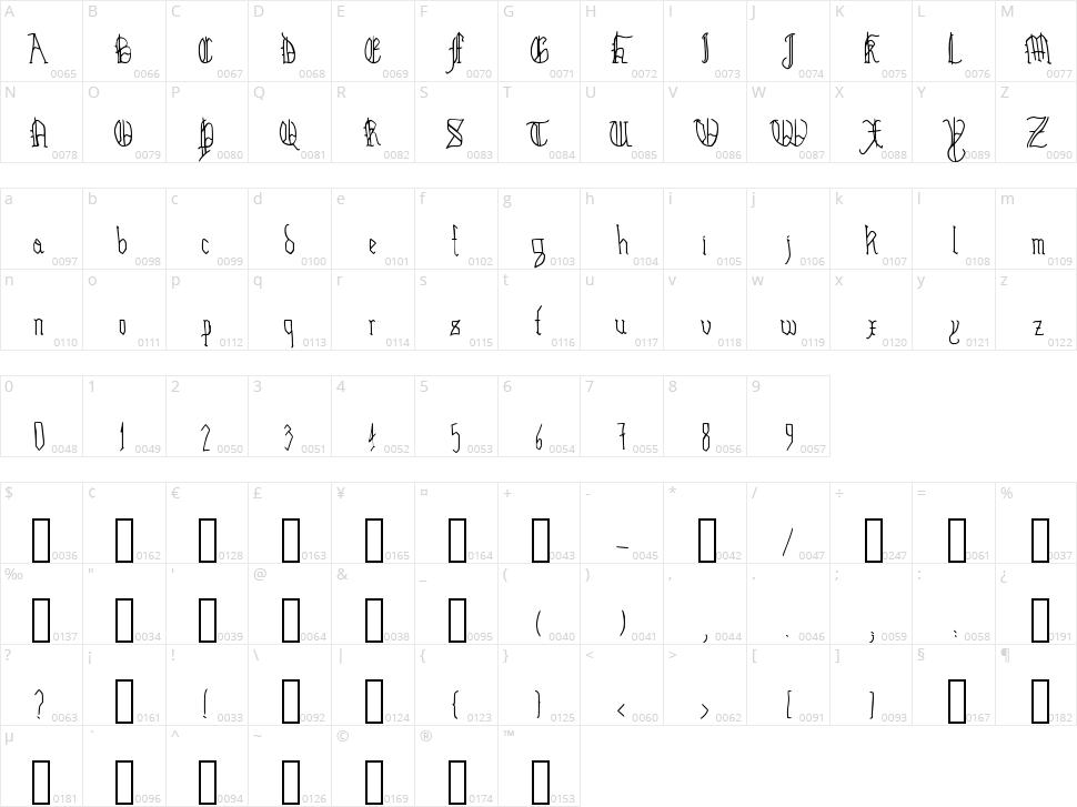 Hairline Quadrata Character Map