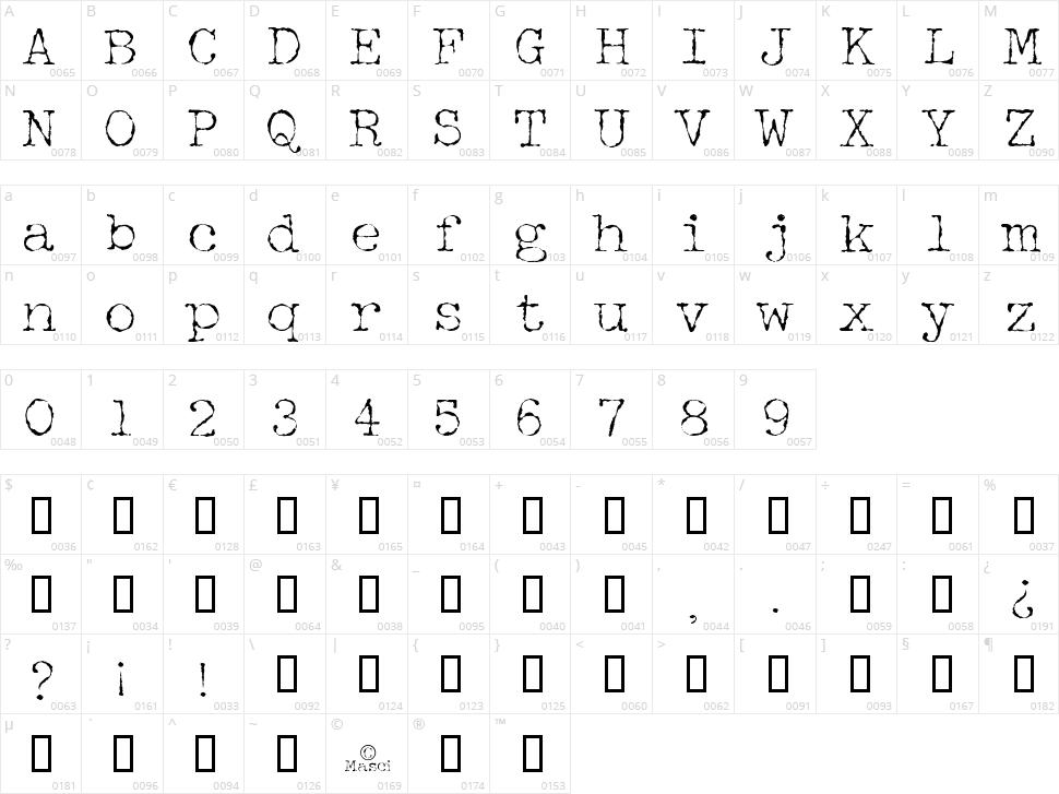 Halbstarke Pica Character Map