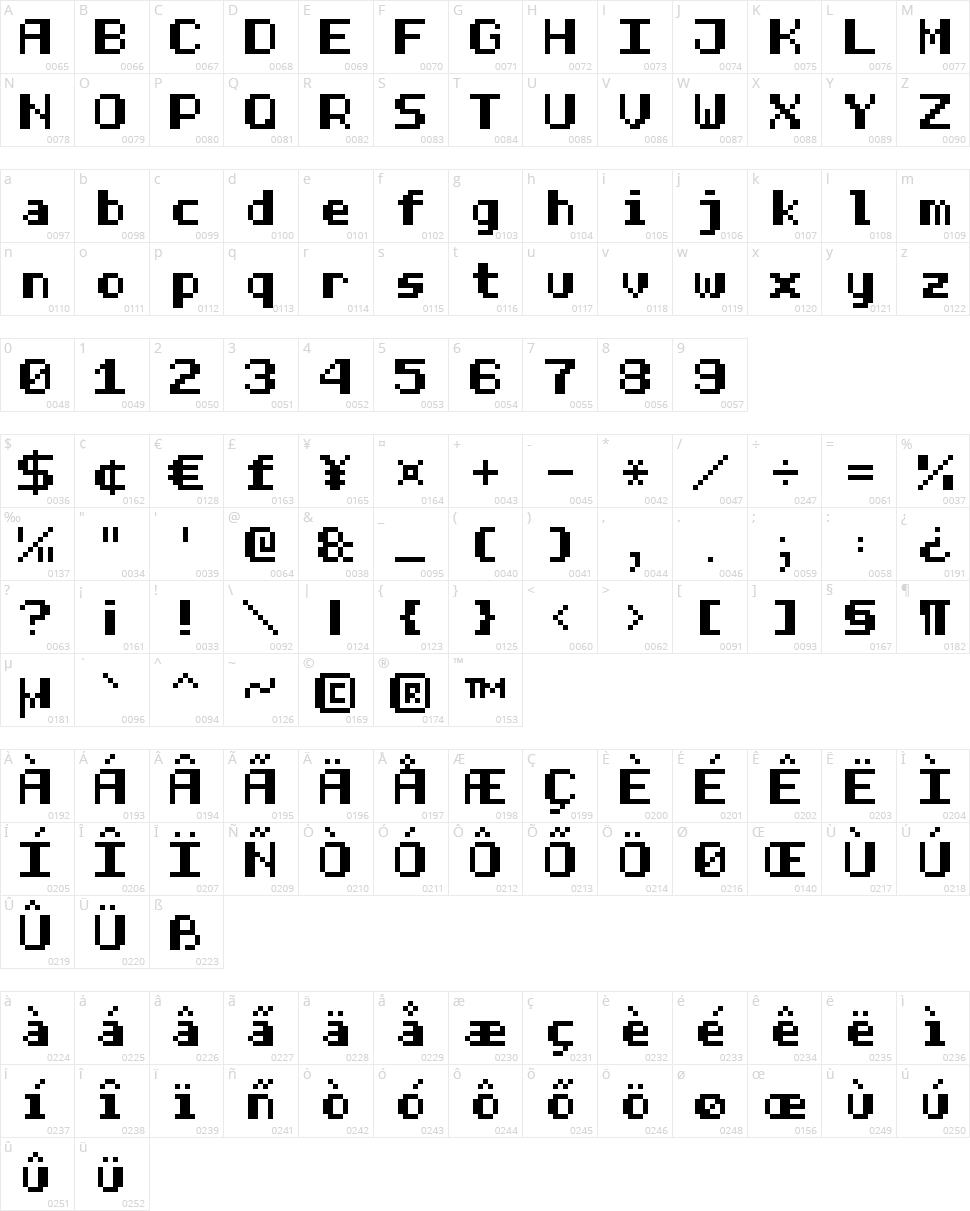 Half Bold Pixel-7 Character Map