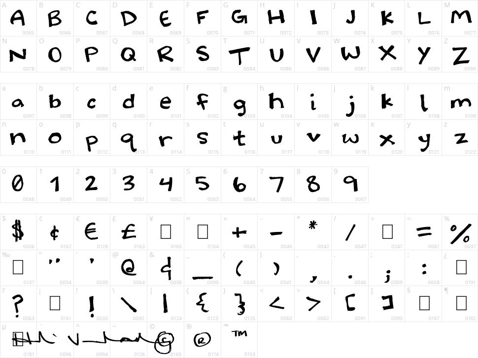 Halidoodle Character Map