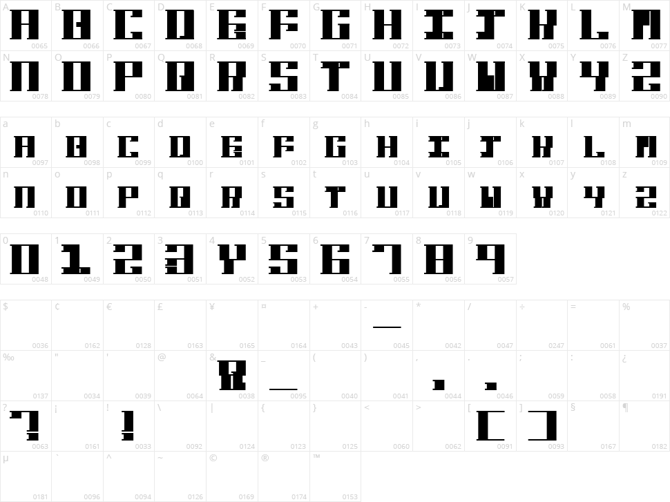 Hardbaq Character Map