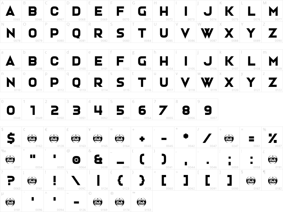 Hardigan Character Map