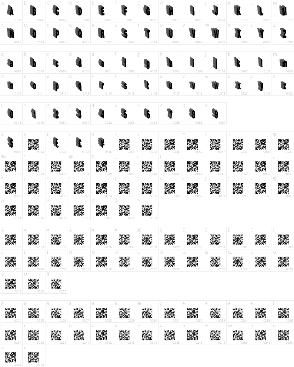 HardLine Character Map